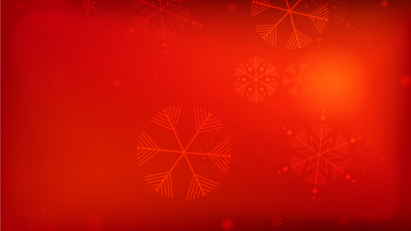 Illustration pour Beautiful Red Christmas Background with Falling Snowflakes.  Element of Design with Snow for a Postcard, Invitation Card, Banner, Flyer.  Vector Falling Snowflakes on a Red Winter Background. - image libre de droit