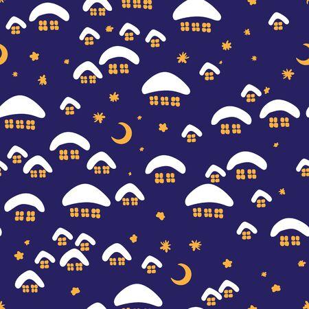 Illustration pour Winter seamless pattern with night village. - image libre de droit