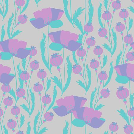 Illustration for Vector seamless pattern with poppy flowers and capsules. Can be used for fabric, textile, wrapping, packaging and web design. - Royalty Free Image
