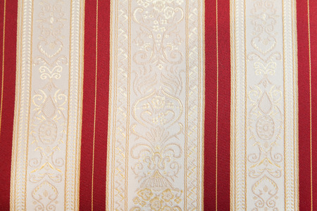 Photo for retro textile fabric with ornament and selective focus - Royalty Free Image