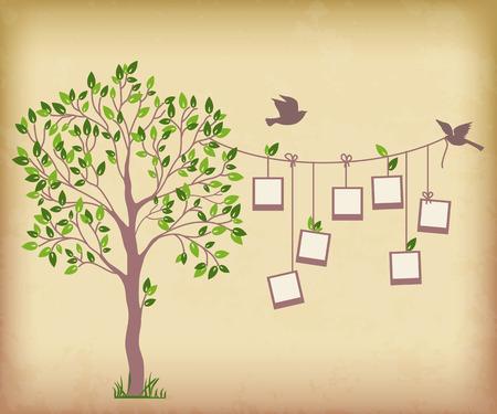 Ilustración de Memories tree with photo frames   Insert your photos into frames - Imagen libre de derechos