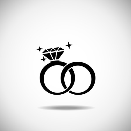 Illustration for Wedding rings icon on a white background - Royalty Free Image