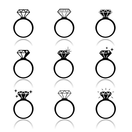 Illustration for Wedding rings vector icon  Wedding invitation  Jewelry - Royalty Free Image