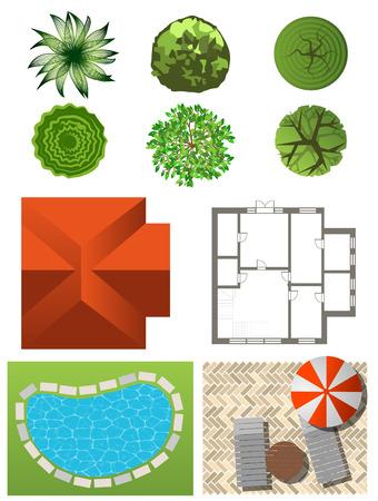 Illustration pour Detailed landscape design elements. Make your own plan. Top view - image libre de droit