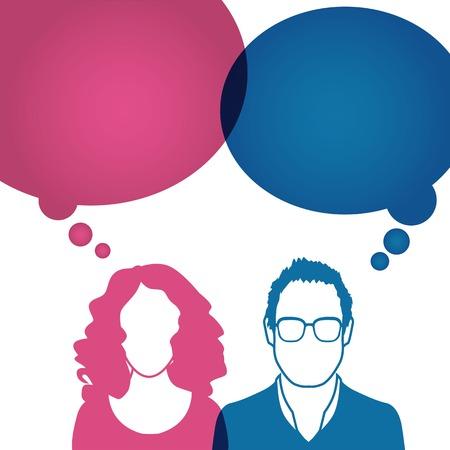 Illustration pour Men and women avatar profile picture set.  - image libre de droit