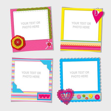 Ilustración de Decorative template frame design for baby photo and memories, scrapbook concept, vector illustration - Imagen libre de derechos