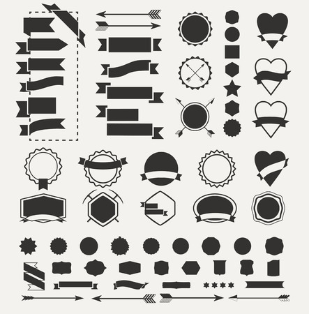 Illustration pour Huge set of vintage vector badge shapes, collection of design elements for creating retro logos - image libre de droit