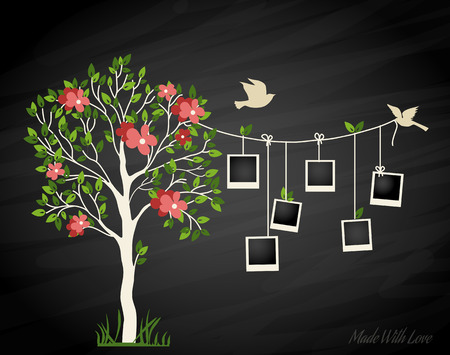 Foto de Memories tree with photo frames. Insert your photos into frames - Imagen libre de derechos