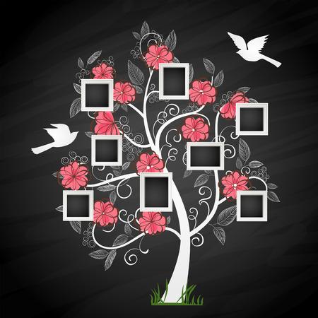 Illustration pour Memories tree with photo frames. Insert your photos into frames - image libre de droit