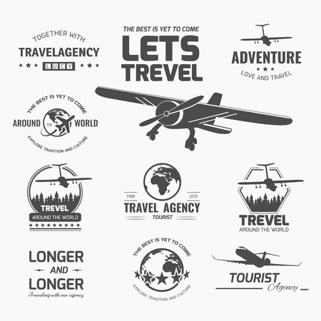 Foto de A set of vector logo design elements for travel agency. Plane, travel, vacation - Imagen libre de derechos
