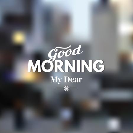 Illustration pour Text good morning on a blurred background. - image libre de droit