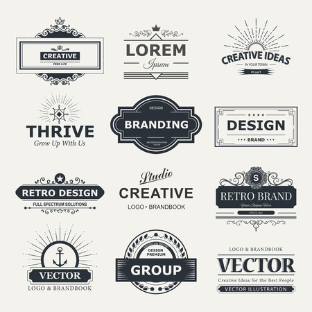 Illustration pour Retro Vintage labels  set. design elements business signs, branding, badges, objects, identity, labels. - image libre de droit