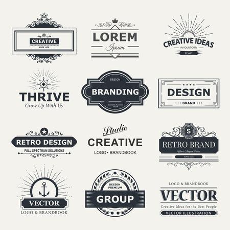 Illustration for Retro Vintage labels  set. design elements business signs, branding, badges, objects, identity, labels. - Royalty Free Image