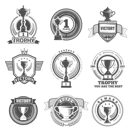 Illustration for Set of vector winner, badges, emblems and design elements. Black icons Victory trophies and awards - Royalty Free Image