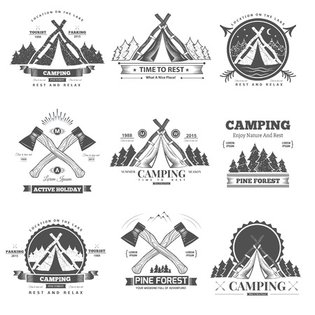 Illustration pour Retro vector vintage camp label and logo graphics. Camping outdoor, adventure and explorer. - image libre de droit