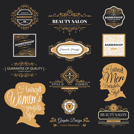 Illustration for  set of retro barber shop labels, badges and design element. - Royalty Free Image