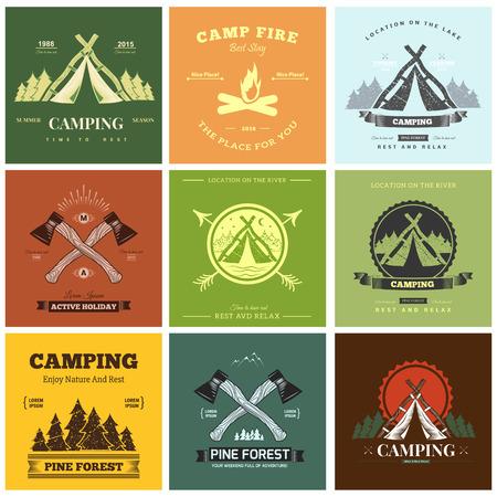 Illustration pour Retro vintage camp label graphics. Camping outdoor, adventure and explorer. - image libre de droit
