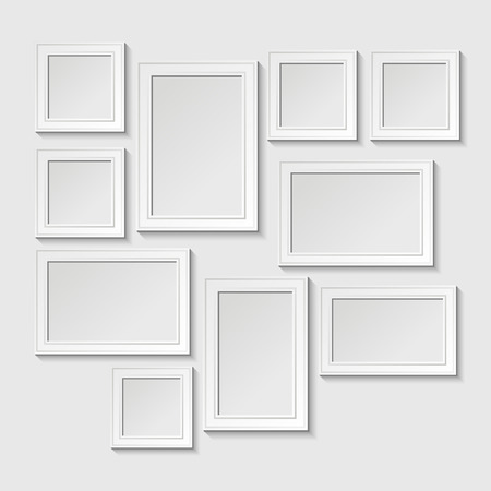 Illustration pour Decorative template frame design on a wall for baby. Photo and memories, scrapbook concept, vector illustration. Gallery - image libre de droit