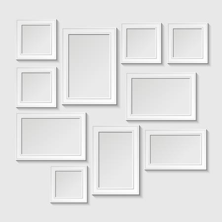 Ilustración de Decorative template frame design on a wall for baby. Photo and memories, scrapbook concept, vector illustration. Gallery - Imagen libre de derechos