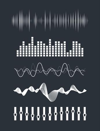 Illustration pour Vector music sound waves set. Audio digital equalizer technology, console panel, pulse musical. - image libre de droit