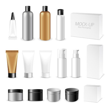 Illustration pour Make up. Tube of cream or gel white plastic product.  Container, product and packaging. White background. - image libre de droit