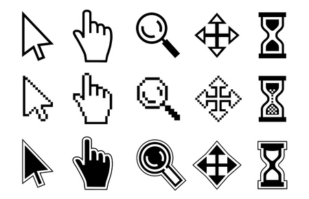 Illustration pour Vector icon hand, cursor and hourglass on white background. - image libre de droit