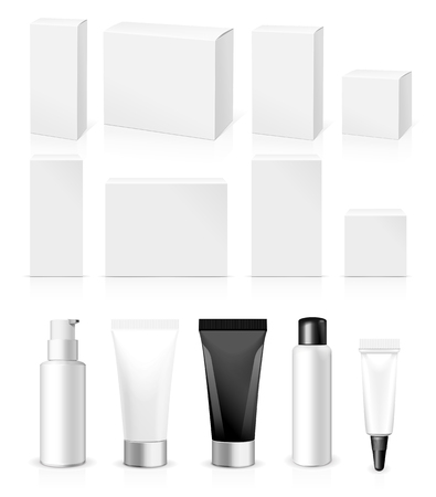 Ilustración de Realistic Tubes And Package. Packing White Cosmetics Or Medicines Isolated On White Background. You Can Use It For Tube Of Creams, Shampoo, Gel, Sauce, Ointments Or Any Other Product for you design - Imagen libre de derechos