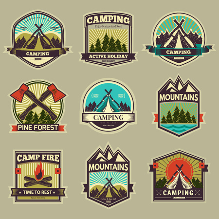 Illustration pour Retro vector vintage camp label and logo graphics. Camping outdoor, adventure and explorer. Simple and nice design. Travel and Exploration the world - image libre de droit
