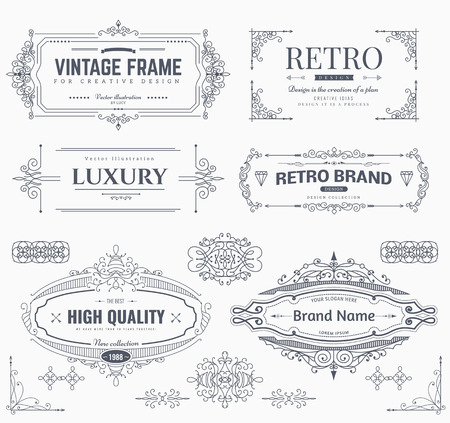 Illustration pour Collection of vintage patterns. Flourishes calligraphic ornaments and frames. Retro style of design elements, postcard, banners, logos. Vector template - image libre de droit