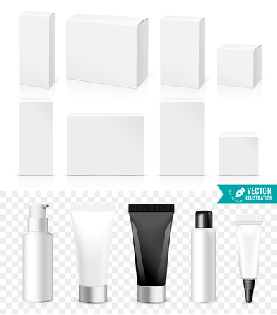 Illustration pour Realistic Tubes And Boxes. Packing White Cosmetics Or Medicines products Isolated On White Background. You Can Use It For Tube Of Creams, Shampoo, Gel, Ointments Or Any Other Product for you design - image libre de droit
