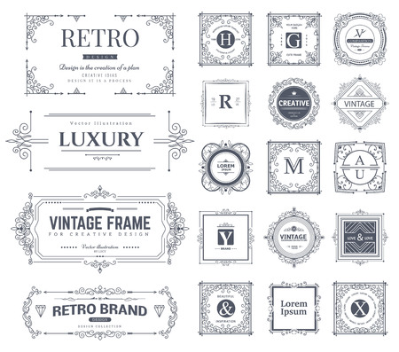 Ilustración de Collection of vintage flourishes calligraphic ornaments and frames. Retro style. Vector template - Imagen libre de derechos