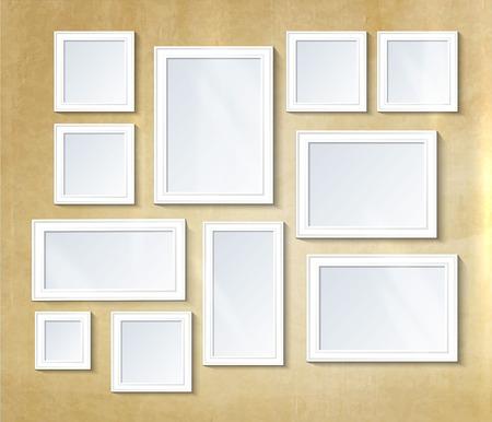 Ilustración de Decorative collage photo frame. Vintage photo frame template on wall for kid and parents. Design photo memories, scrapbook concept, vector illustration. Gallery - Imagen libre de derechos