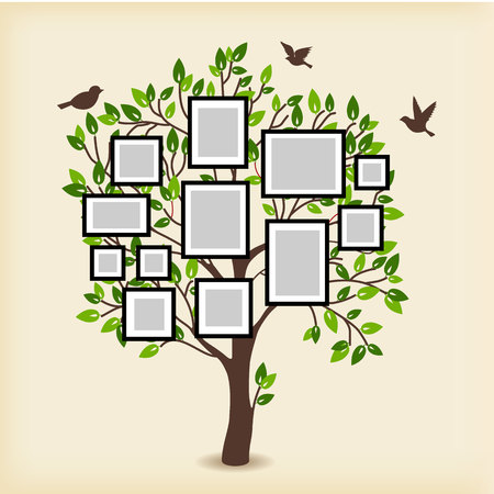 Ilustración de Memories tree with picture frames. Insert your photo into template frames. Collage vector illustration - Imagen libre de derechos