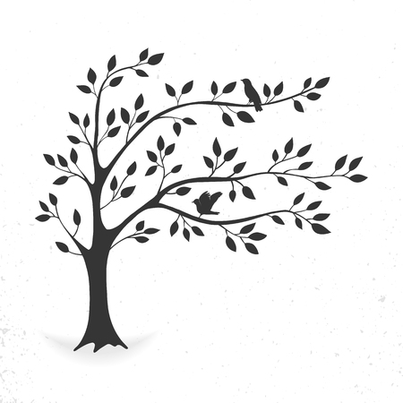 Ilustración de Tree with leaves and birds - Imagen libre de derechos