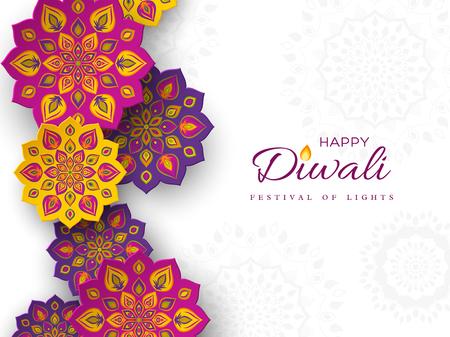 Illustration pour Diwali festival holiday design with paper cut style of Indian Rangoli. Purple, violet, yellow color on white background. Vector illustration. - image libre de droit