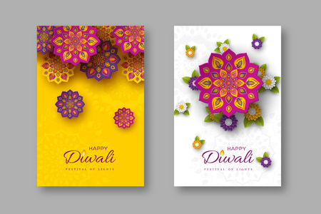 Ilustración de Diwali festival holiday posters with paper cut style of Indian Rangoli and flowers. Purple, violet colors on white and yellow background. Vector illustration. - Imagen libre de derechos