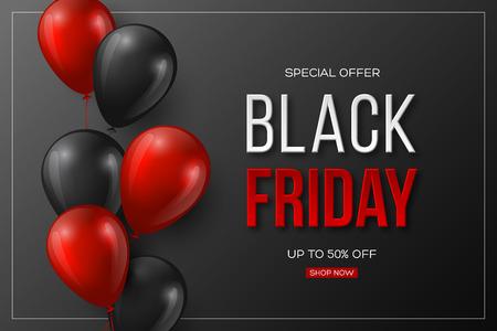 Ilustración de Black Friday sale typographic design. 3d stylized red color letters with glossy balloons. Black background. Vector illustration. - Imagen libre de derechos