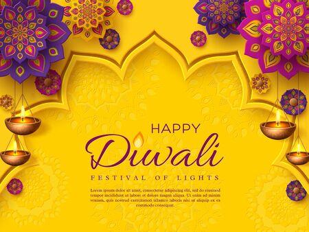 Ilustración de Diwali festival holiday design with paper cut style of Indian Rangoli and hanging diya - oil lamp. Purple color on yellow background. Vector illustration. - Imagen libre de derechos