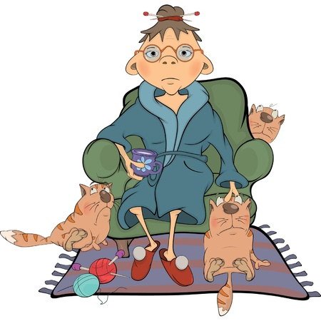 Illustration for The grandmother and its cats Cartoon - Royalty Free Image