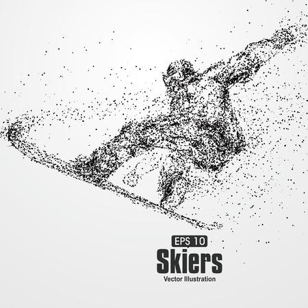 Ilustración de Skiers,particle divergent composition, vector illustration. - Imagen libre de derechos