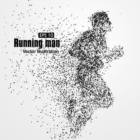 Illustration pour Running Man, particle divergent composition, vector illustration. - image libre de droit