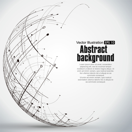 Illustration pour Point and curve constructed the sphere wireframe, technological sense abstract illustration. - image libre de droit