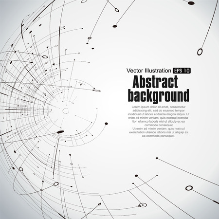 Illustration pour Point and curve constructed the technological sense abstract illustration. - image libre de droit