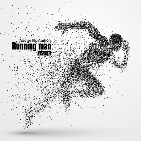 Ilustración de Running Man, particle divergent composition, vector illustration. - Imagen libre de derechos