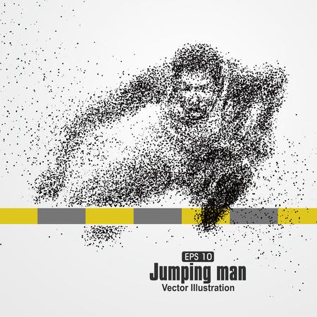 Illustration pour Jumping Man, particle divergent composition, vector illustration. - image libre de droit