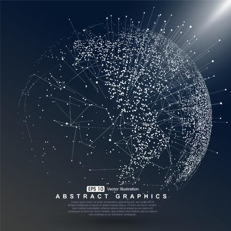 Illustration pour World map point constructed  Global network connection - image libre de droit