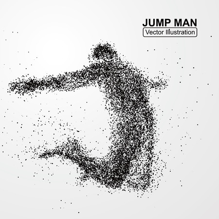 Ilustración de Jump man,Vector graphics composed of particles. - Imagen libre de derechos