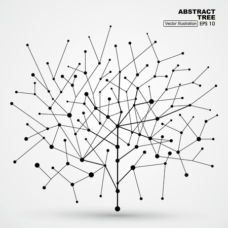 Illustration pour Of points and lines of trees, abstract graphics. - image libre de droit