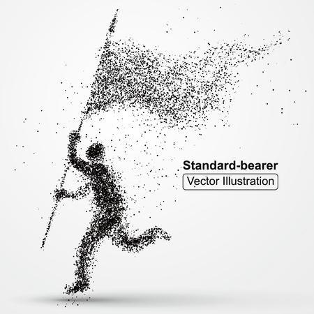 Illustration pour Flagman image composed of particles,vector illustration composition. - image libre de droit