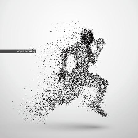 Ilustración de People running, particle divergent composition, vector illustration - Imagen libre de derechos